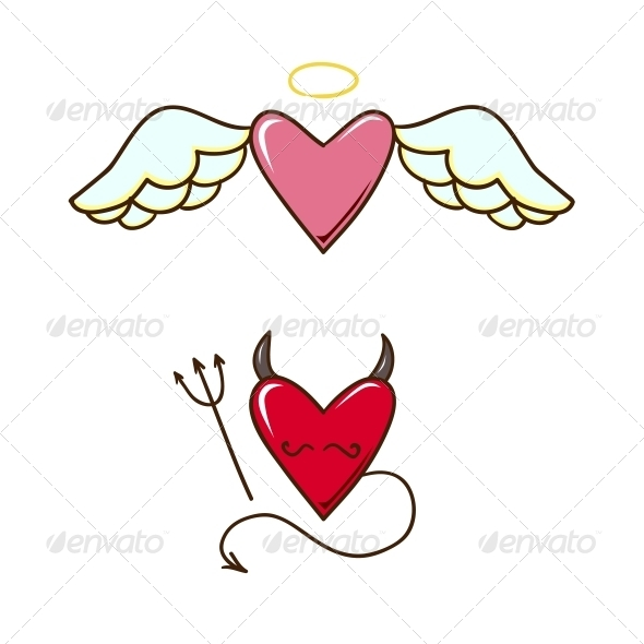 Angel and Demon Hearts - Valentines Seasons/Holidays