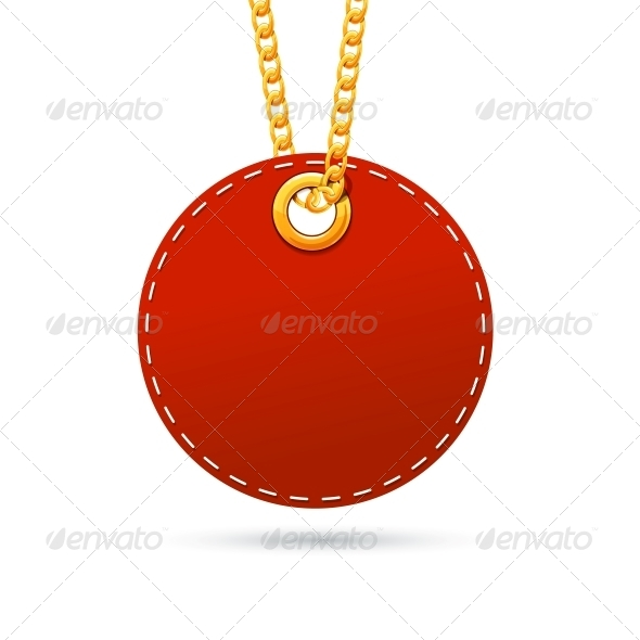 Label Tag Hanging on Golden Chain - Retail Commercial / Shopping