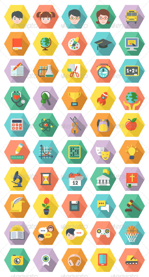 Modern Flat Education and Leisure Icons in Hexagon - Miscellaneous Icons