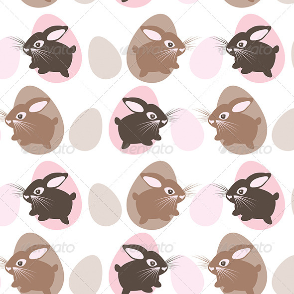 Easter Rabbit with Eggs Seamless Texture - Patterns Decorative
