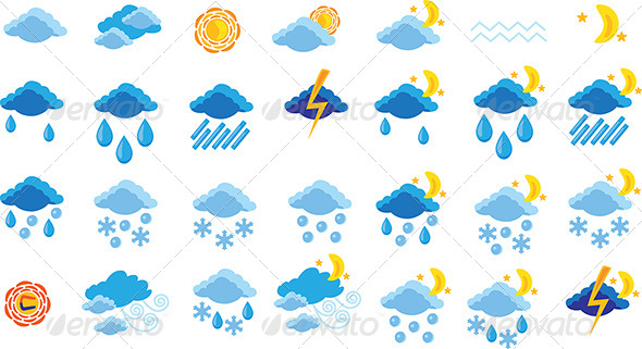 Set of Weather Icons - Vectors