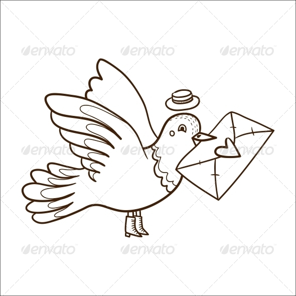 Bird with Letter. - Valentines Seasons/Holidays