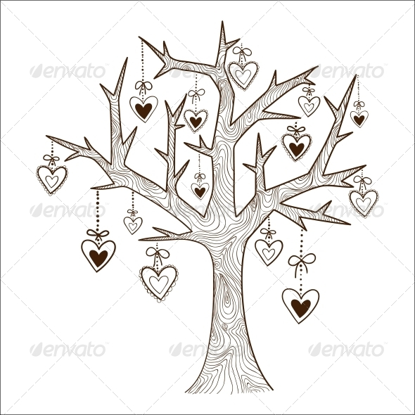 Tree with Hearts Labels. - Valentines Seasons/Holidays