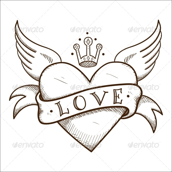 Heart with Banner and Crown. - Valentines Seasons/Holidays