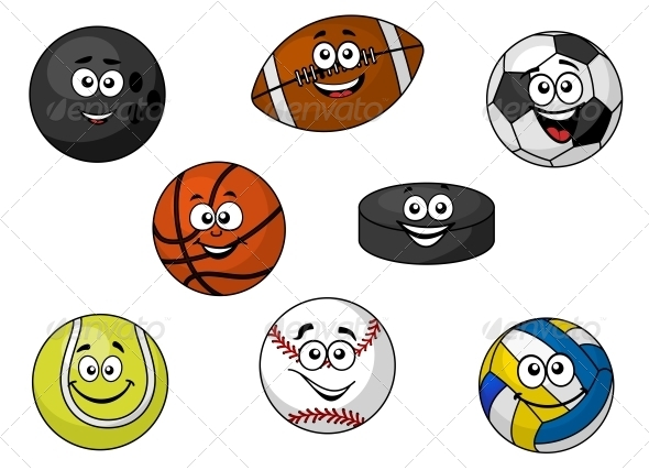 Happy Sporting Balls and Equipment - Sports/Activity Conceptual