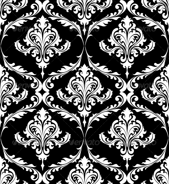 Black and White Vintage Damask Pattern - Patterns Decorative
