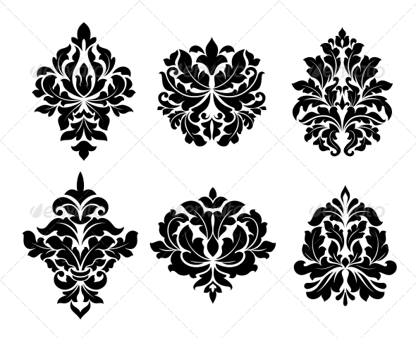 Collection of Six Different Arabesque Designs - Flourishes / Swirls Decorative