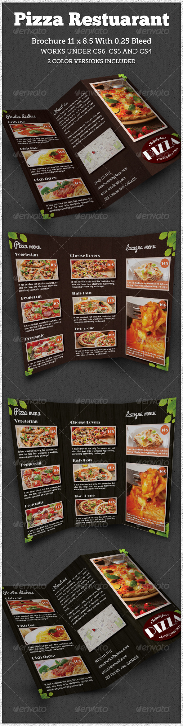 Pizza Restaurant Tri-fold Brochure Indesign - Brochures Print Templates