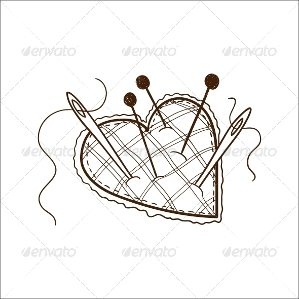Pin Cushion in a Heart Shape - Valentines Seasons/Holidays