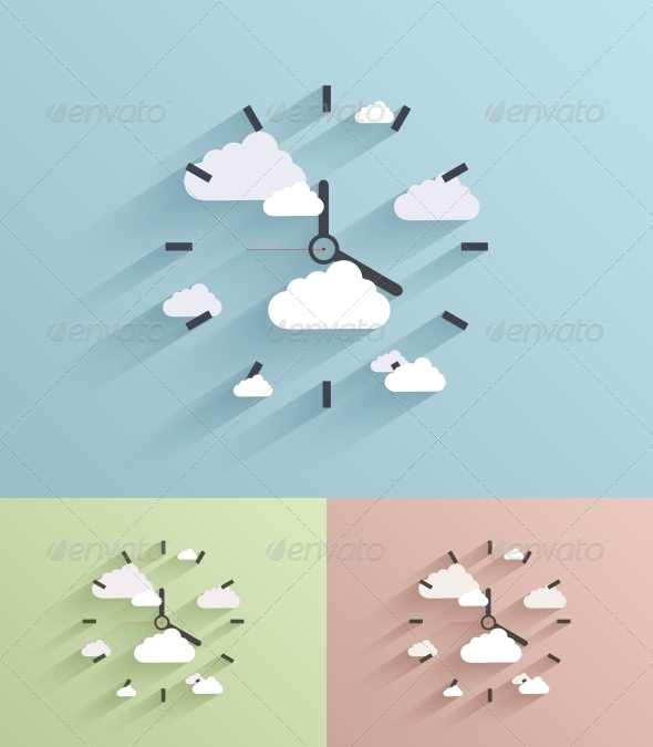 Flat Clock Background - Web Technology
