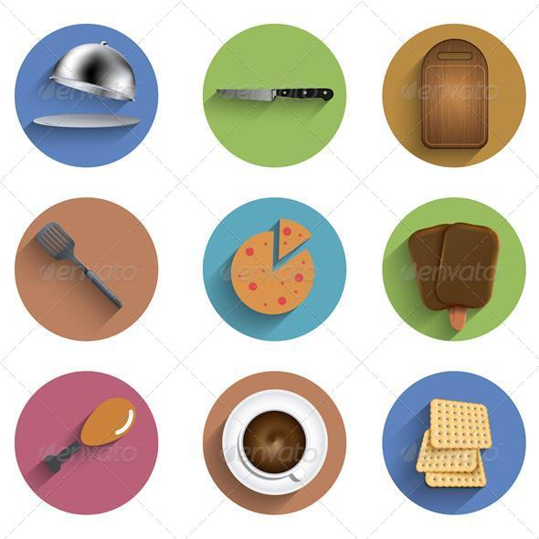 Flat Food Circle Icon Set - Food Objects