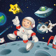 Astronaut Child Playing with Pet on the Moon - GraphicRiver Item for Sale