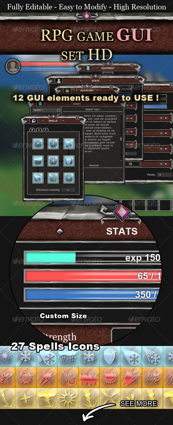 RPG Game UI Set HD - User Interfaces Web Elements
