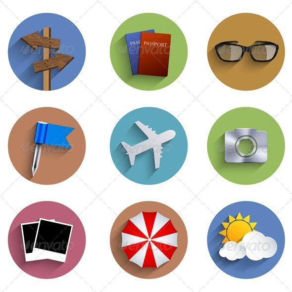 Flat Circle Travel Icon Set - Travel Conceptual