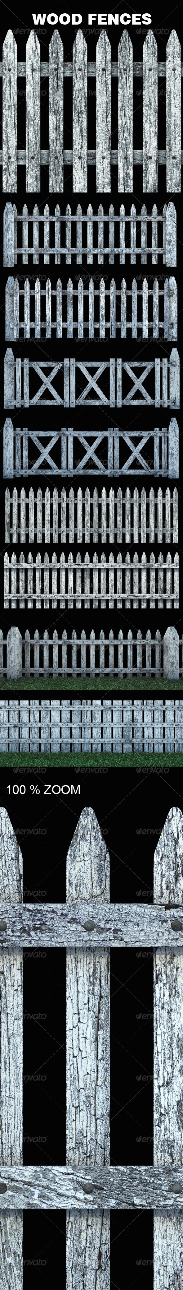 Old White Wood Fences - Objects 3D Renders