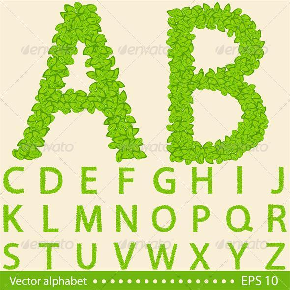 Alphabet with Green Leaves - Seasons Nature