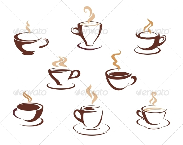 Set of Steaming Cups of Hot Beverages - Food Objects