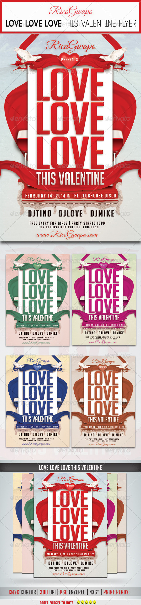 Love Love Love This Valentine Flyer Template - Flyers Print Templates