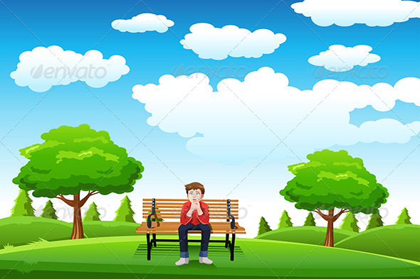 Man Sitting on the Bench - People Characters