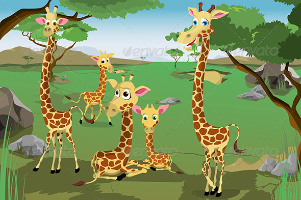 Family of Giraffes - Animals Characters