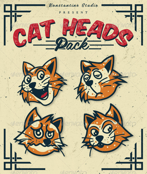 Cat Heads Pack - Animals Characters