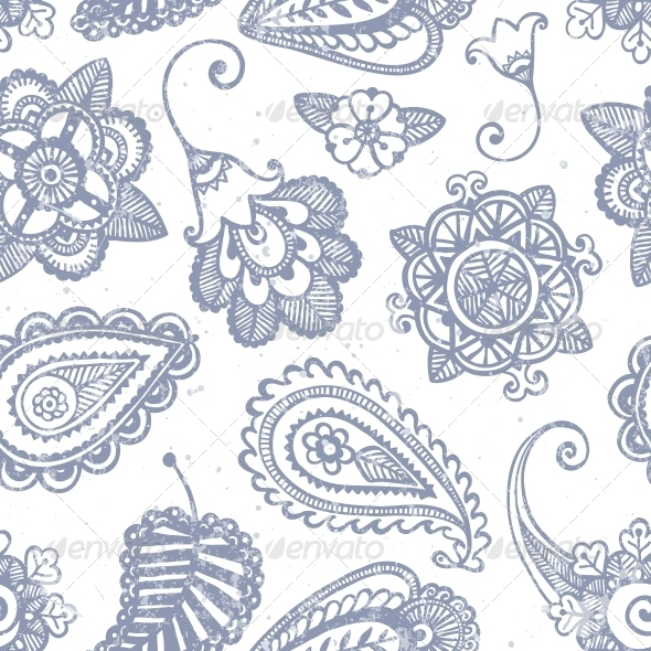 Floral Seamless Pattern - Flourishes / Swirls Decorative