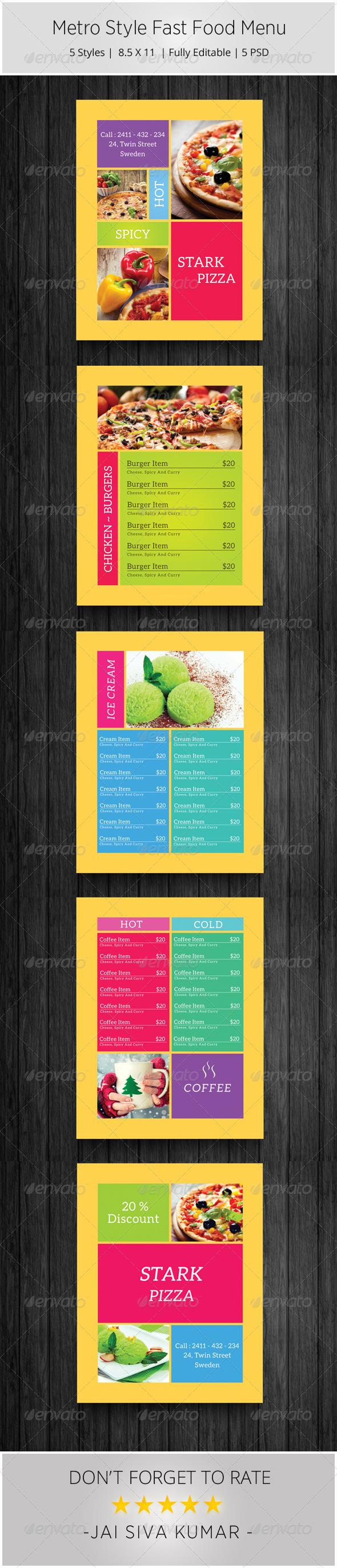 Metro Style Fast Food Menu - Food Menus Print Templates
