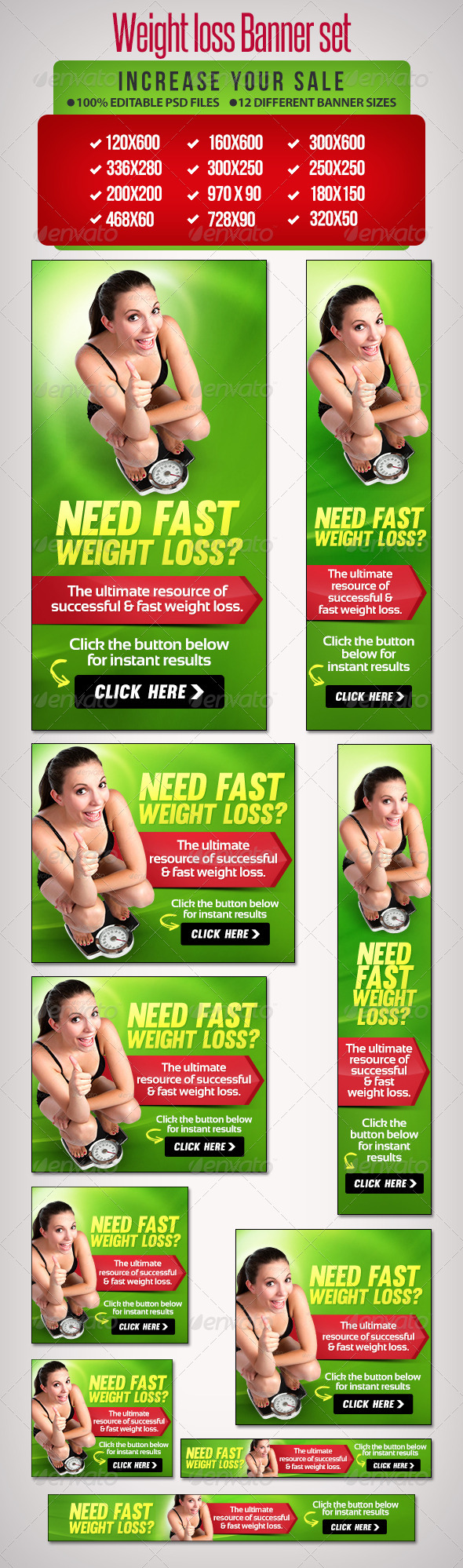 Weight Loss Banner Set 8 - Banners & Ads Web Elements