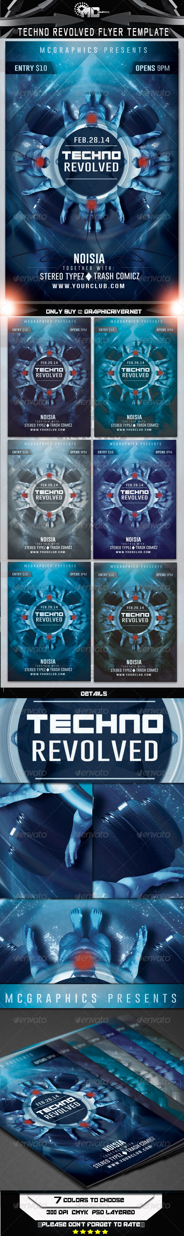Techno Revolved Flyer Template - Events Flyers