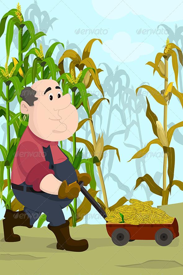 Farmer Harvesting Corns - People Characters