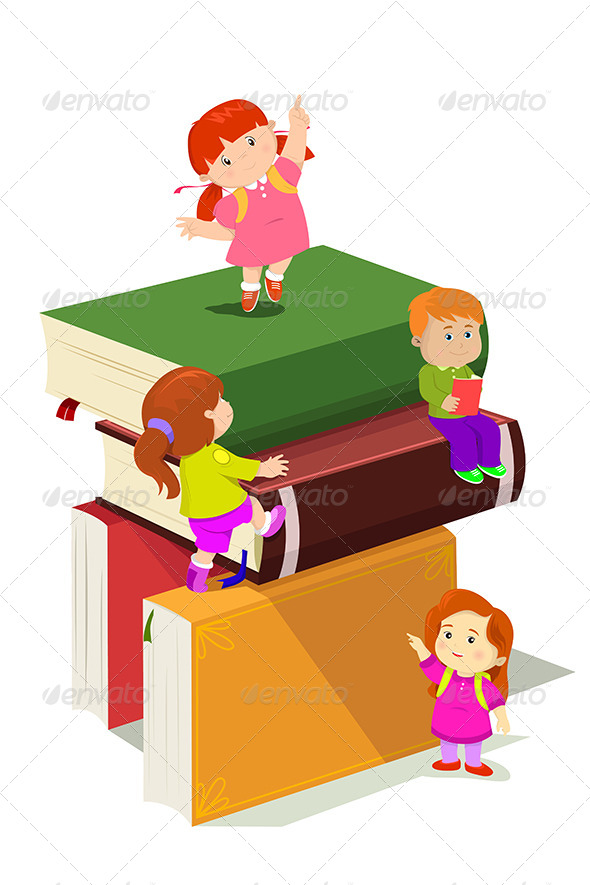 Kids Climbing in Stack of Books - People Characters