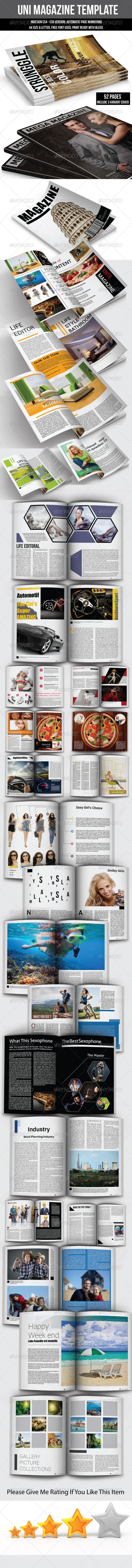 UNI Magazine Template  - Magazines Print Templates