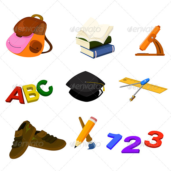 Back to School Icons - Objects Vectors