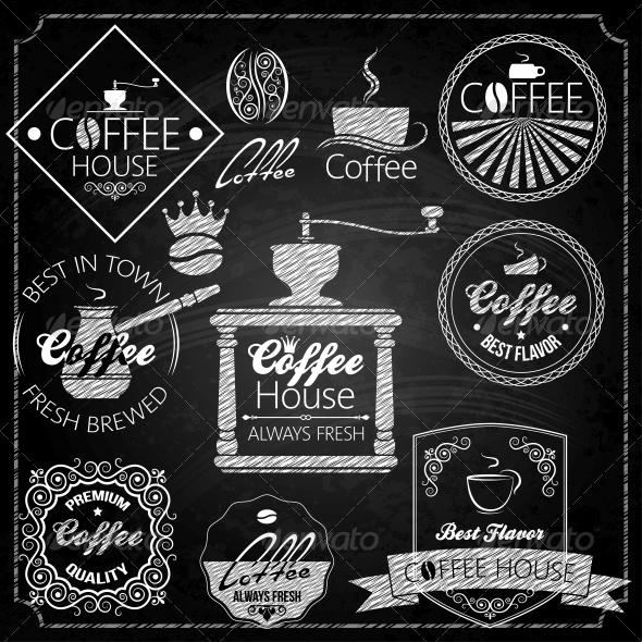 Coffee Set Elements Chalkboard - Food Objects