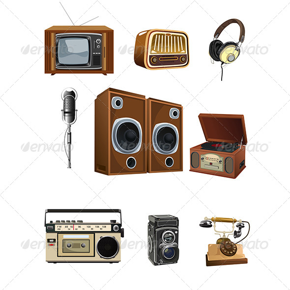 Vintage Media Stuff Icons - Objects Vectors