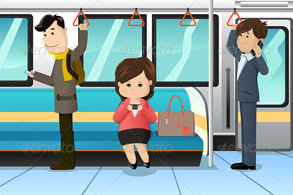 Peoples Using Cell Phones in a Train - People Characters