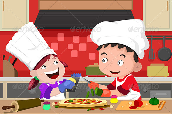 Kids Making Pizza in the Kitchen - People Characters