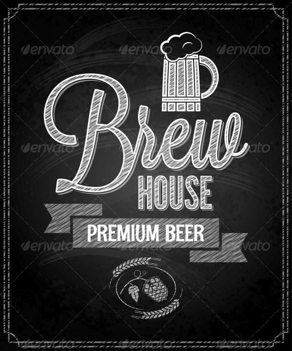 Beer Menu Design House Chalkboard Background - Food Objects