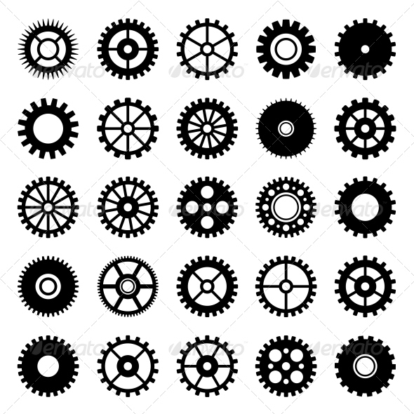 Gear Wheel Icons Set 1 - Technology Icons