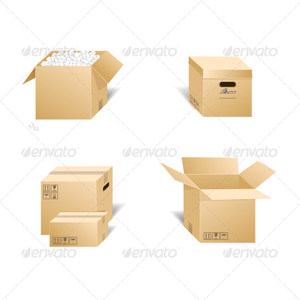 Cardboard Box Set - Services Commercial / Shopping