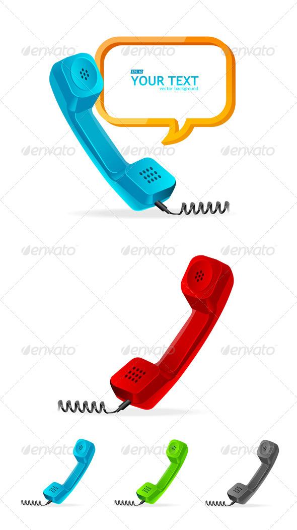 Phone Receiver Set - Objects Vectors