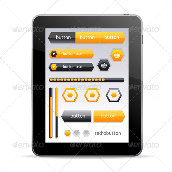 GUI elements for Tablet  - Web Elements Vectors