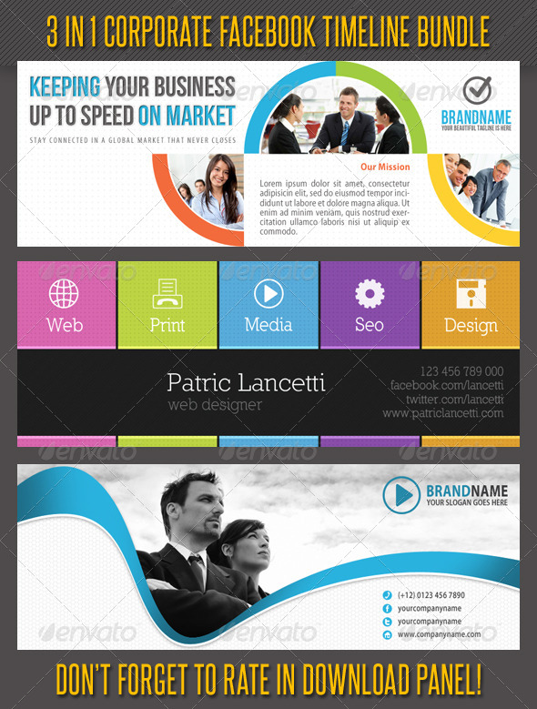 3 in 1 Corporate Facebook Timeline Bundle 02 - Facebook Timeline Covers Social Media