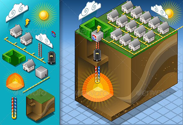 Isometric Geothermal Heat Pump Diagram with Magma - Buildings Objects