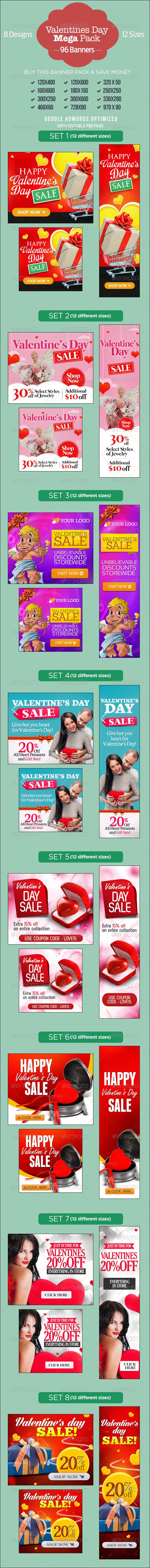 Bundle - 8 Valentine's Day Sale Sets - Banners & Ads Web Elements