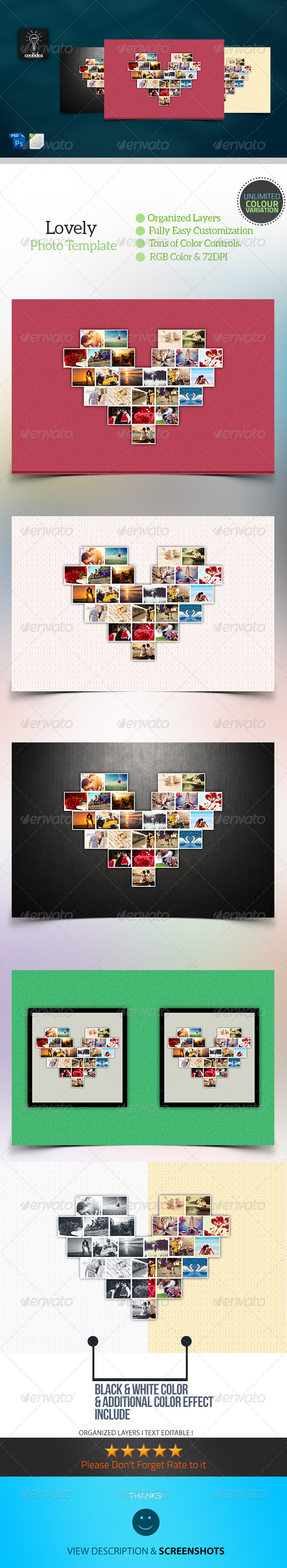 Lovely Heart Photo Template - Photo Templates Graphics