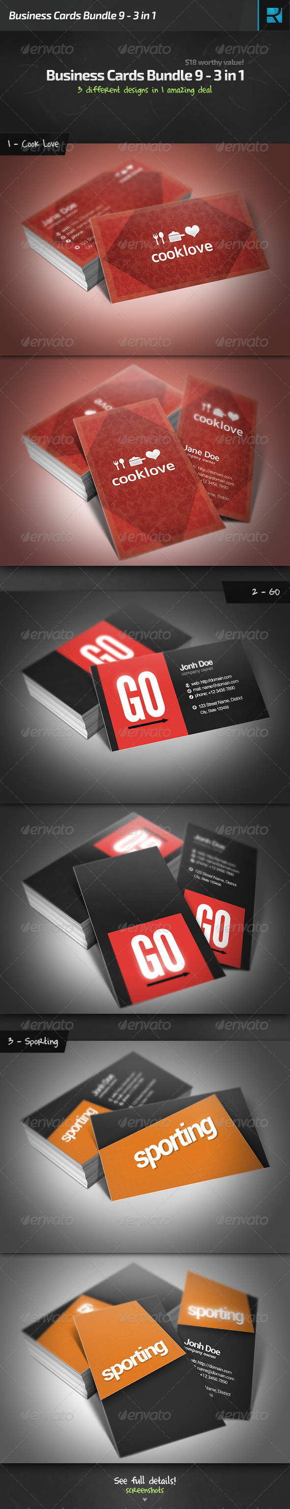 Business Cards Bundle 9 - 3 in 1 - Business Cards Print Templates