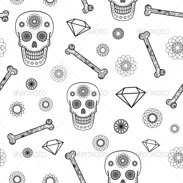 Seamless Pattern with Skull - Patterns Decorative