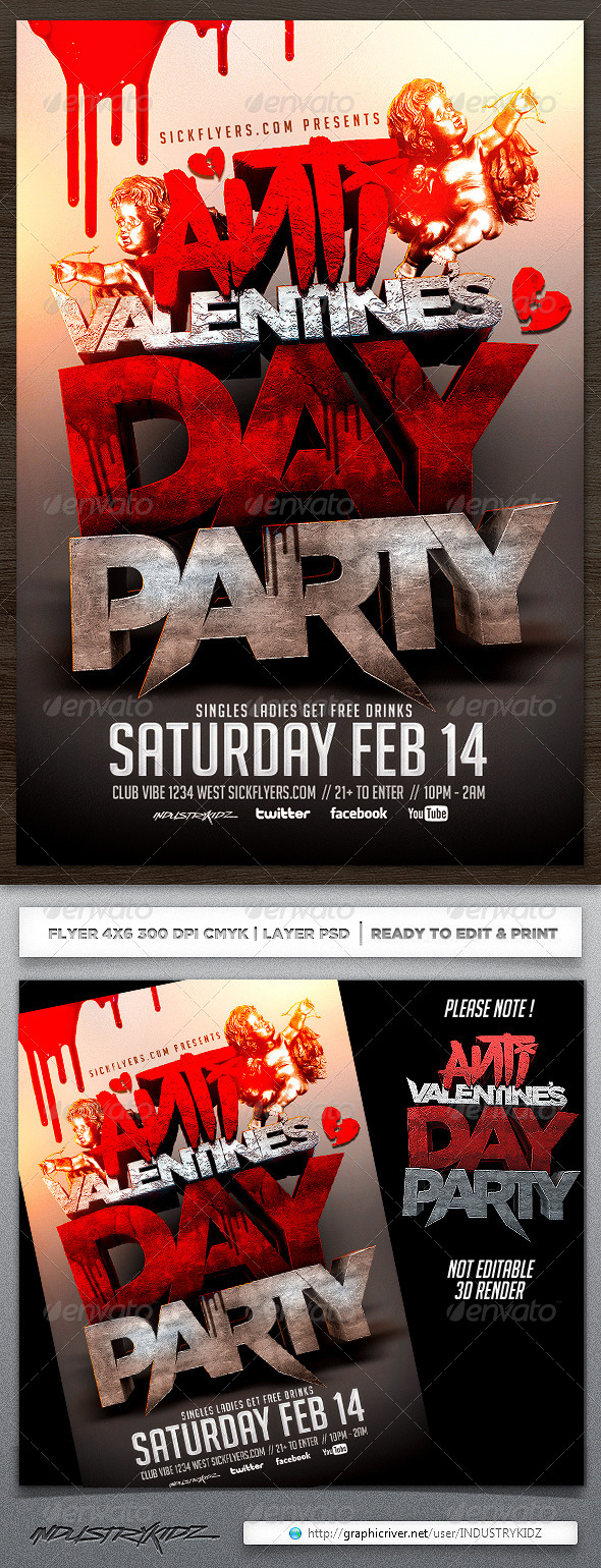 Anti Valentines Day Flyer Template   Holidays Events