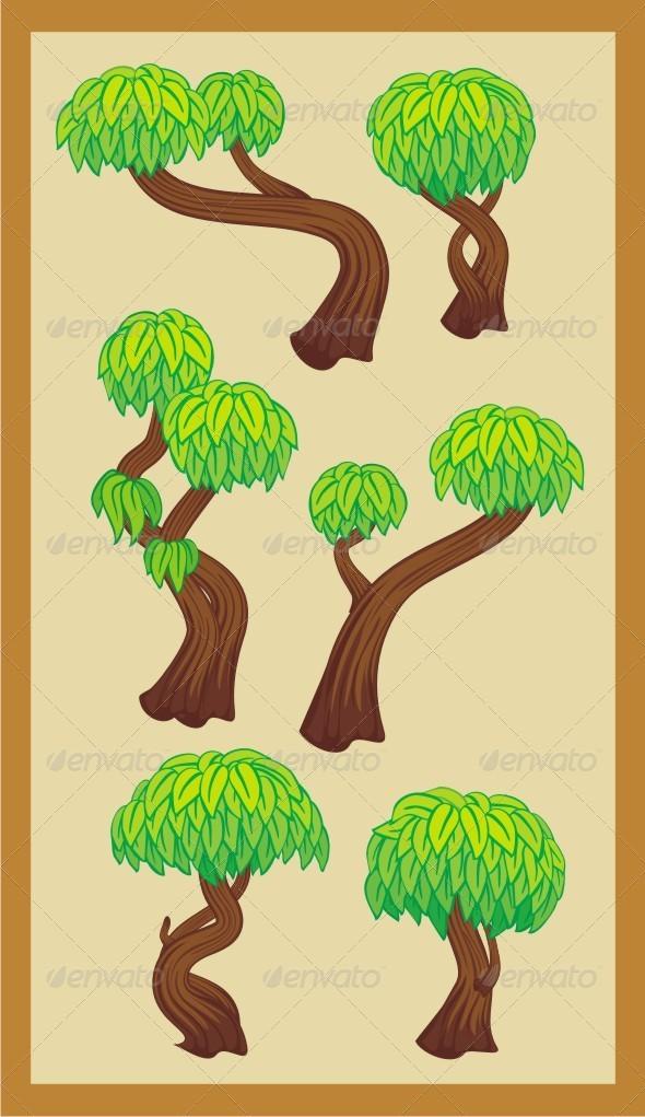 Trees Set - Objects Vectors